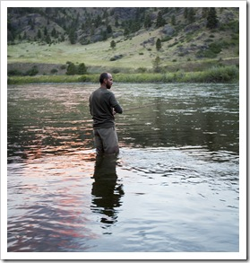 Sam fishing in the Missouri River in front of the Quintero's house