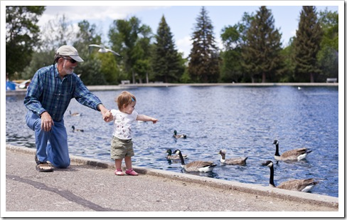 Greg and Lilia feeding the geese in Great Falls