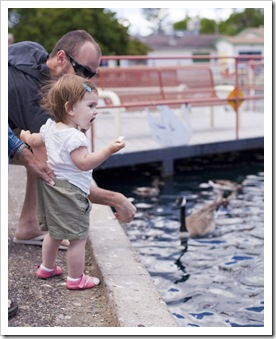 Sam and Lilia feeding the geese in Great Falls