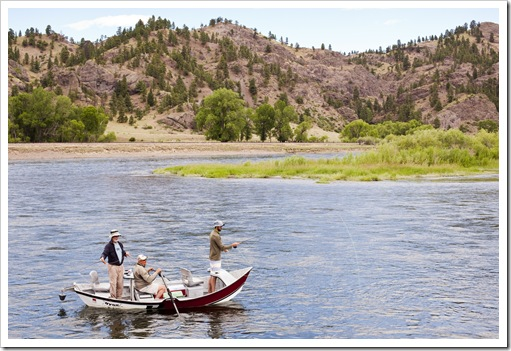 Greg and Sam on a fly fishing float down trhe Missouri River