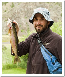 Sam sporting a solid trout at the Quintero's
