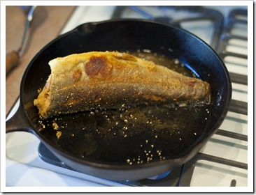 Greg cooking trout for breakfast