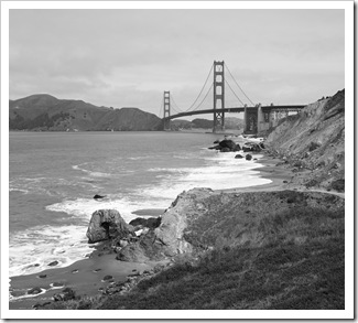 An overcast Golden Gate from Marshall Beach
