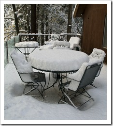 The cabin deck after eight inches of fresh snow