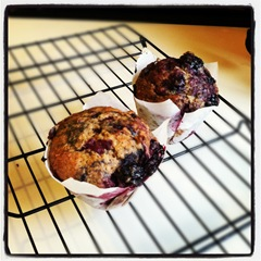 Banana blackberry muffins for breakfast