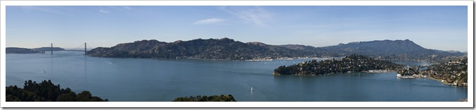 Panormaic encompassing the Golden Gate Bridge, Sausalito, Tiburon, Belvedere and Mount Tamalpais