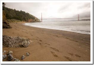 View of the Golden Gate Bridge from Kirby Cove