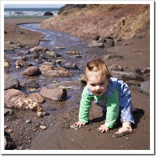 Lilia enjoying the creek at Tennessee Valley Beach