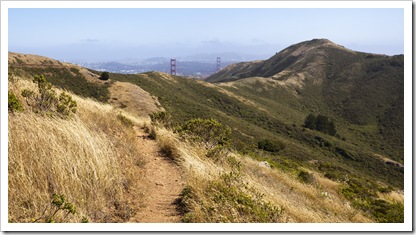 The SCA Trail with the tips of the Golden Gate Bridge in the distance