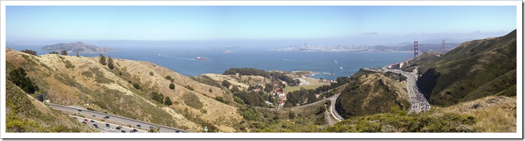 Panoramic of the San Francisco Bay and the Golden Gate Bridge