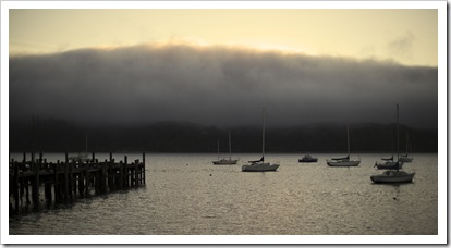 The fog rolling in over Tomales Bay