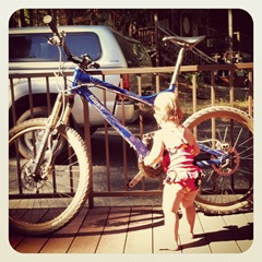Lilia and Dad's bike